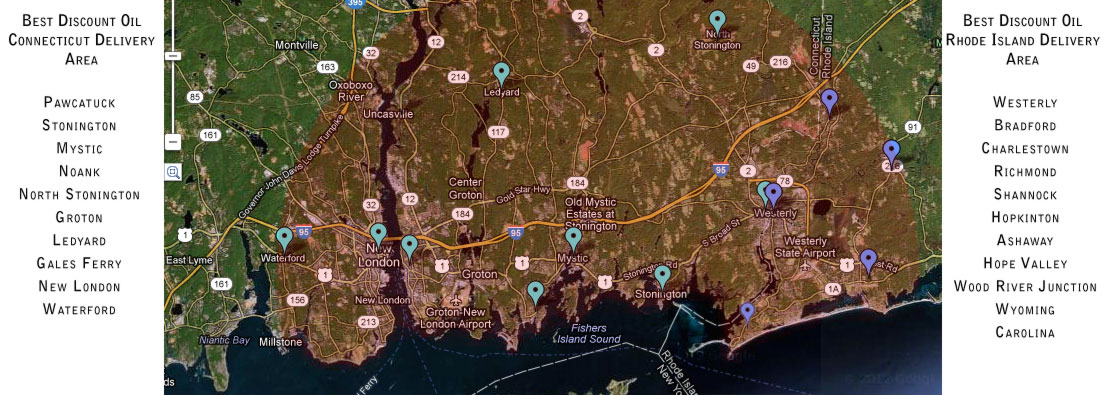 Westerly Discount Oil Best Fuel Service Areas: Westerly, RI, Stonington, CT, North Stonington, CT, Ledyard, CT, New London, CT , Waterford, CT, Groton, CT, Mystic, CT, Gale's Ferry, CT, Noank, CT, Pawcatuck, CT, Ashaway, RI, Bradford, RI